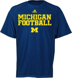 Michigan Wolverines Blue Synthetic Climalite Team Practice Short Sleeve Shirt by Adidas $29.95
