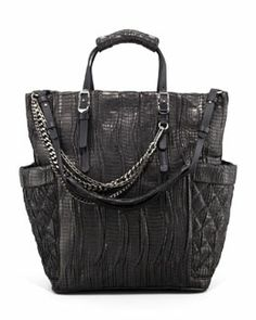 V1NLU Jimmy Choo Blare Snakeskin Tote Bag, Black