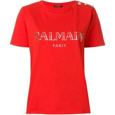 Balmain button-embellished T-shirt ($216) ❤ liked on Polyvore featuring tops, t-shirts, red, balmain tee, logo t shirts, red tee, embellished top and embellished t shirt