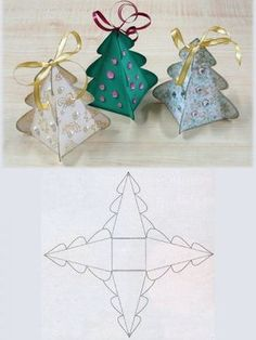 Christmas Tree Box.  This website also has templates for different shape boxes which look really cute as well. Lovely way to wrap the really small little present! http://www.auksarankes.lt/straipsnis/pasidaryk-pati/dovanu-dezutes