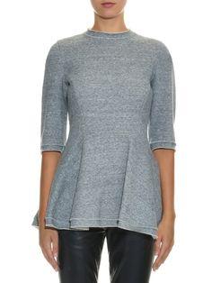 Yohji Yamamoto Regulation Peplum fleece-lined jersey sweatshirt