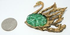 Vintage Tortolani Carved Glass Swan Brooch Pin Faux Jade Glass Figural Costume | eBay sold
