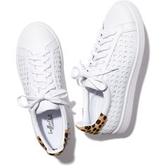 Loeffler Randall Zora Perforated Sneaker Goop featuring polyvore, women's fashion, shoes, sneakers, pointed shoes, leather shoes, white leather shoes, white trainers and pointed-toe sneakers