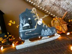 Vintage Childs Ice Skate Double Blade - upcycled Holiday Decoration - Painted Ice Skate Gift