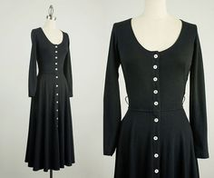 90s Vintage Black Ballet Neckline Button Down Jersey by decades