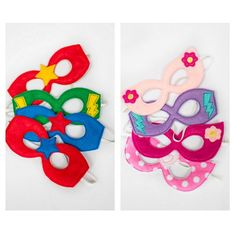 A set of four handmade superhero masks that will make your party favors not only adorable but well-used and remembered! Each mask is made of padded felt and ha