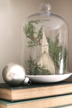 Christmas cloche- I am making these for Christmas gifts.  I collect vintage ornaments, bottle brush trees, etc, and you don't even need to have a cloche, you can use any wide mouth clean jar with a lid.  I spray paint the lid silver, and it just turns out so cute.  More pictures to follow!  Thanks, Cottage Comforts!