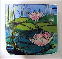 Water Flowers by Alice Benvie Gebhart: Art Glass Wall Art available at www.artfulhome.com