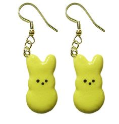 Peeps Earrings  Marshmallow Easter Bunny Jewelry  by BitOfSugar, $14.00