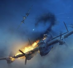 British Lancaster in flames