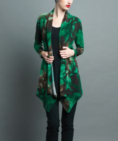 Emerald Floral Fadeout Open Cardigan | Daily deals for moms, babies and kids