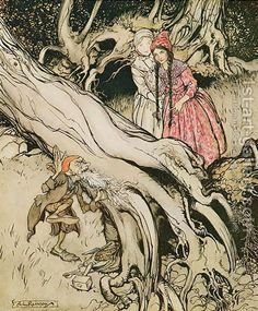 This IS my favorite Grimm story, but the picture doesn't show the bear central to the story. Arthur Rackham illustration of Snow White and Rose Red from the Grimm Brothers fairytales. Arthur Rackham, Edmund Dulac, Brothers Grimm Fairy Tales, Grimm Tales, German Fairy Tales, Fairytale Art, Children's Book Illustration, Book Illustrations, Faeries