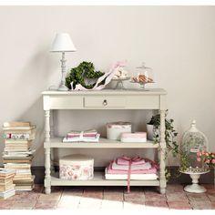 Lampe de chevet en bois et tissu blanc H 45 cm LORINE
