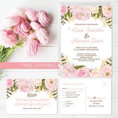 Pink Floral Wedding Invitation Set Wedding by CreativeUnionDesign