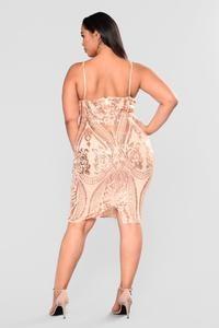 Ashe Sequin Dress - Rose Gold – Fashion Nova Gold Plus Size Dresses, Gold Fashion, Dress Backs, Sequin Dress, Nova, Sequins, Rose Gold, Formal Dresses, Unique