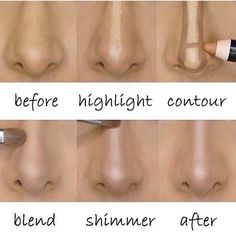 Amazing highlighting and contouring before and after tutorial.