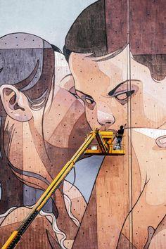 Street artist, Aryz (Barcelona)
