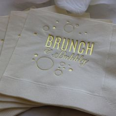 Brunch and Bubbly champagne beverage cocktail napkin. Perfect for girls night out, dinner party, sweet 16, 21st birthday, bachelorette party, bridal shower, birthday party, mimosa party or just a fabulous luncheon. Give these as a gift to your favorite fashionista. Channel your inner Real Housewife and host a fabulous Real Housewives themed brunch. Popping bottles at brunch in style by EatCoutureCupcakes