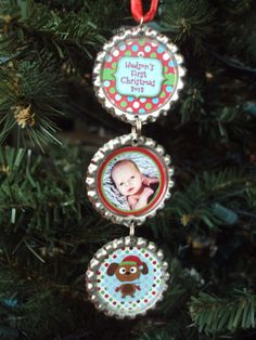 Bottlecap Christmas Ornament 2012 - Baby's First Christmas Ornament - Personalized - Photo Ornament. $9.00, via Etsy.