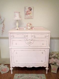 Precious Pink Antique Chest of Drawers #shabbychicdressersmakeover