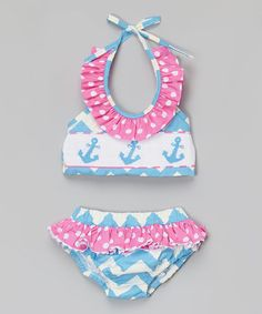 Look what I found on #zulily! Blue & Pink Chevron Anchor Ruffle Tankini - Infant & Toddler by Smocked or Not #zulilyfinds