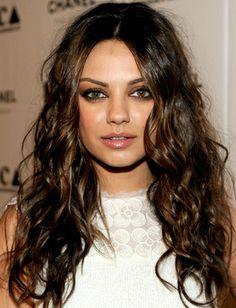 life goal for hair Curly Hair.. Mila Kunis  Love the colour