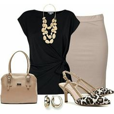 Use neutral pieces together to make a stunning professional look. A beige pencil skirt and a black blouse create an easy outfit that will still make you look authoritative. Accessorize with more neutral pieces, or add a pop of color to really stand out. Office Fashion, Work Fashion, Fashion Outfits, Womens Fashion, Fasion, Work Looks, Looks Style, Simple Outfits, Cute Outfits