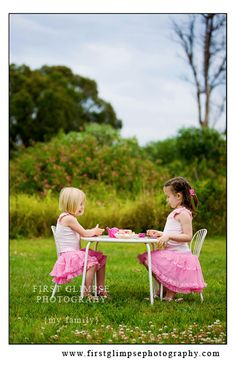 I love this simple photo of girl friends pretending to have a tea party.
