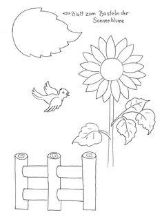 bauernhof: sonnenblume zum ausmalen | sonnenblume basteln, blumenzeichnung, malvorlagen blumen