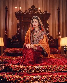 Image may contain: 1 person, sitting and indoor You will find different rumors about the real history of the wedding … Asian Wedding Dress, Pakistani Wedding Outfits, Pakistani Wedding Dresses, Bridal Outfits, Indian Dresses, Indian Outfits, Indian Aesthetic, Bollywood, Indian Couture