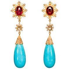 Dancing Apsara Diamond, Gold, Tourmaline and Turquoise Drop Earrings