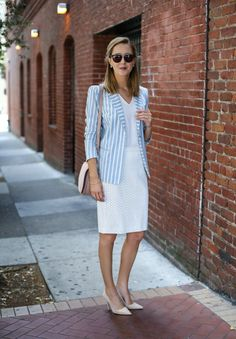 Striped Blazer and Ivory Pencil Skirt - MEMORANDUM, formerly The Classy CubicleMEMORANDUM, formerly The Classy Cubicle