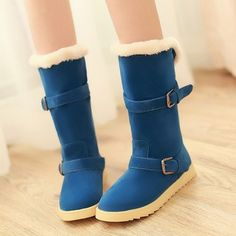 free shipping new 2014 buckle flats mid-calf boots for women's snow boots are female winter shoes woman brown red blue beige