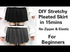 DIY Easy&Quick Stretchy Pleated Skirt in 15mins for Beginners | No Zipper & Elastic - YouTube