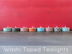 I decorated some inexpensive tealights in Washi tape for the 4th of Ju…