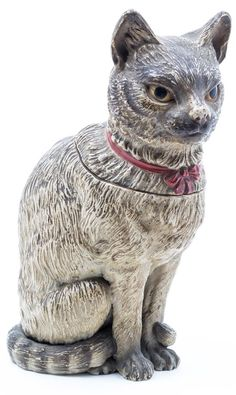 An Austrian Terracotta Figural Jar in the form of a cat. Height 10 1/4 inches. Estimate $ 200-400