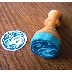 Tampon gravé à la main petit médaillon lapin