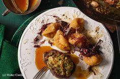 Hirschsteaks mit Nusskruste und Kürbis-Gnocchi Original Recipe, Cooking Tips, Potatoes, Chicken, Steaks, Vegetables, Recipes, Food, Kitchens