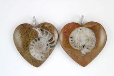 093338c9b Ammonite Heart Pendants. Heart Pendants, Ammonite, Jewelry Shop, Unique  Jewelry, Fossils