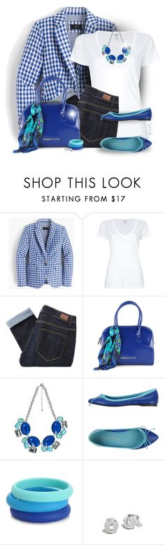 """Gingham Blazer For Spring!"" by pinkroseten ❤ liked on Polyvore featuring J.Crew, Splendid, Paige Denim, Versace, Chewbeads and Coach"