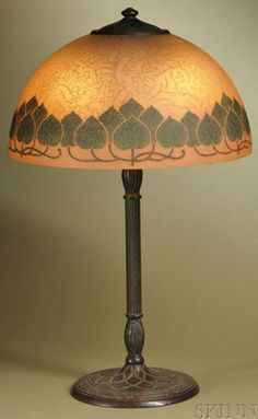 lighting, Connecticut, Handel table lamp, painted glass and patinated bronze, Meriden, Connecticut, early 20th century. Frosted and textured...