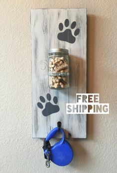 Large Dog Treat Holder Dog Leash Holder Dog by RuffRuffCreations