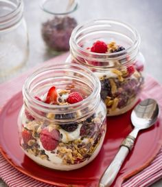 yogurt-parfait: pack granola on the side when you're making ahead so it doesn't get soggy...