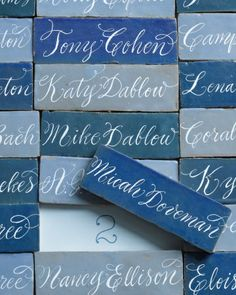 Calligraphed Moroccan ceramic tiles make beautiful escort cards that are sure to become keepsakes. Escort cards that are also favors are a great money-saver - kill two birds with one stone! Wedding Table Seating, Card Table Wedding, Wedding Table Decorations, Wedding Cards, Bridal Shower Tables, Wedding Etiquette, Plan Your Wedding, Wedding Ideas, Wedding Details