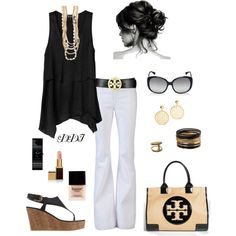 Black Tank and White Jeans, created by dawndayiannelli on Polyvore