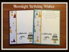 Stampin' in the Sand: Moonlight Birthday Wishes. Stampin Up endless birthday wishes stamp set. moonlight designer paper card.
