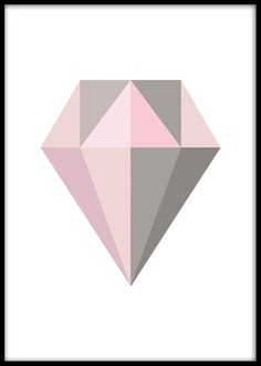 Pastell diamond, plakat. Plakater med diamant. Grafisk plakat med diamant i grått og rosa. Motivet er skapt av vårt designteam.