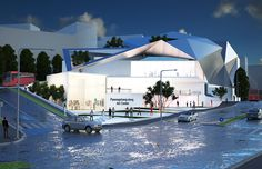 Architectural design of the Seoul Art Center in North Korea. A great interpretation of modern design reflecting wealth and development of Seoul Architecture Open Spaces, Master Plan, Seoul, Architects, Architecture Design, Modern Design, Landscape, Create, Building