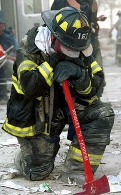 A United States Firefighter on September 11, 2001 in New York City. 2
