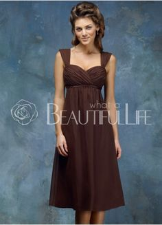 iprom-dresses.com | Prom Dresses Brown Straps Knee Length Chiffon Prom Dress With Pleats